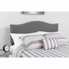 Lexington Upholstered Queen Size Headboard with Decorative Nail Trim in Dark Gray Fabric [HG-HB1707-Q-DG-GG]