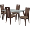 Lincoln 5 Piece Espresso Wood Dining Table Set with Glass Top and Curved Slat Wood Dining Chairs - Padded Seats [ES-115-GG]
