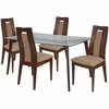 Lincoln 5 Piece Walnut Wood Dining Table Set with Glass Top and Curved Slat Wood Dining Chairs - Padded Seats [ES-129-GG]