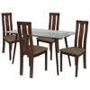 Lindsay 5 Piece Espresso Wood Dining Table Set with Glass Top and Vertical Wide Slat Back Wood Dining Chairs - Padded Seats [ES-152-GG]