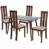 Lindsay 5 Piece Walnut Wood Dining Table Set with Glass Top and Vertical Wide Slat Back Wood Dining Chairs - Padded Seats [ES-166-GG]