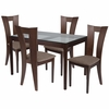Livingston 5 Piece Espresso Wood Dining Table Set with Glass Top and Slotted Back Wood Dining Chairs - Padded Seats [ES-89-GG]