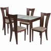 Livingston 5 Piece Walnut Wood Dining Table Set with Glass Top and Slotted Back Wood Dining Chairs - Padded Seats [ES-103-GG]