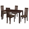 Madison 5 Piece Espresso Wood Dining Table Set with Vertical Wide Slat Back Wood Dining Chairs - Padded Seats [ES-40-GG]