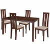 Madison 5 Piece Walnut Wood Dining Table Set with Vertical Wide Slat Back Wood Dining Chairs - Padded Seats [ES-54-GG]