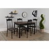 Madison Square 5 Piece Dinette Set with Walnut Finish and Black Pin Dot Padded Fabric Chairs [XM-JM-A0329-F-GG]