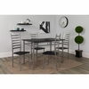 Manhattan 5 Piece Black Wood Grain Finish Dinette Set with Chairs [XM-JM-A0053M-B-GG]