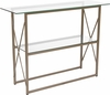 Mar Vista Collection Glass Console Table with Matte Gold Frame [NAN-JH-1796ST-GG]