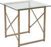 Mar Vista Collection Glass Side Table with Matte Gold Frame [NAN-JH-1796ET-GG]