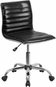 Low Back Designer Armless Black Ribbed Swivel Task Chair [DS-512B-BK-GG]