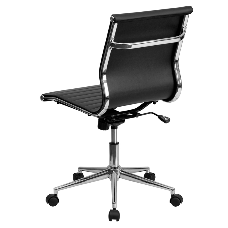 Black leather conference executive computer office desk for Armless office chairs