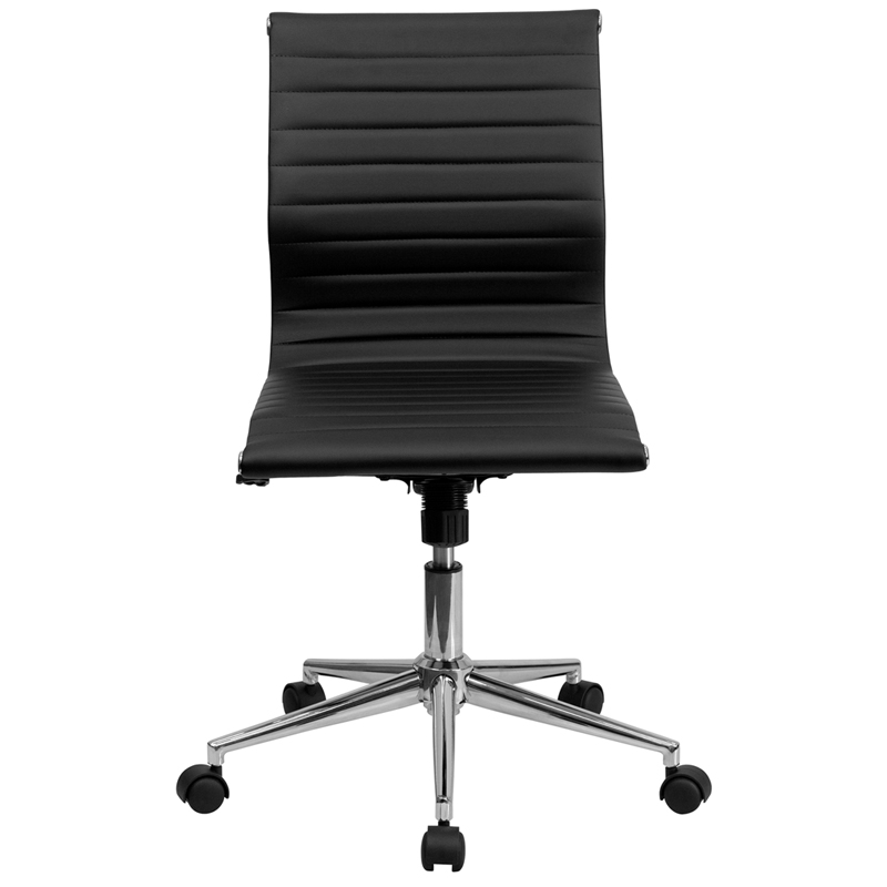 Black leather conference executive computer office desk task chair armless ebay - Armless office chairs uk ...