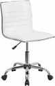 Low Back Designer Armless White Ribbed Swivel Task Chair [DS-512B-WH-GG]