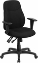 Mid-Back Black Fabric Multifunction Ergonomic Swivel Task Chair with Adjustable Arms [BT-90297M-A-GG]