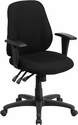 Mid-Back Black Fabric Multifunction Ergonomic Swivel Task Chair with Adjustable Arms [BT-90297S-A-GG]