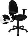 Mid-Back Black Fabric Multifunction Swivel Task Chair with Adjustable Lumbar Support and Adjustable Arms [WL-A654MG-BK-A-GG]