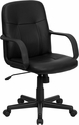 Mid-Back Black Glove Vinyl Executive Swivel Chair with Arms [H8020-GG]