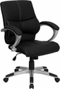 Mid-Back Black Leather Contemporary Swivel Manager's Chair with Arms [H-9637L-2-MID-GG]