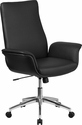 Mid-Back Black Leather Executive Swivel Chair with Flared Arms [BT-88-MID-BK-GG]