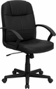 Mid-Back Black Leather Executive Swivel Chair with Arms [BT-8075-BK-GG]