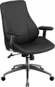 Mid-Back Black Leather Executive Swivel Chair with Arms [BT-90068M-GG]