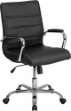 Mid-Back Black Leather Executive Swivel Chair with Chrome Base and Arms [GO-2286M-BK-GG]