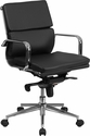 Mid-Back Black Leather Executive Swivel Chair with Synchro-Tilt Mechanism and Arms [BT-9895M-BK-GG]