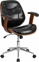 Mid-Back Black Leather Executive Wood Swivel Chair with Arms [SD-SDM-2235-5-BK-GG]