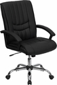 Mid-Back Black Leather Swivel Manager's Chair with Arms [BT-9076-BK-GG]