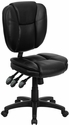 Mid-Back Black Leather Multifunction Ergonomic Swivel Task Chair [GO-930F-BK-LEA-GG]