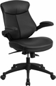 Mid-Back Black Leather Executive Swivel Chair with Back Angle Adjustment and Flip-Up Arms [BL-ZP-804-GG]