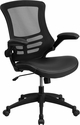 Mid-Back Black Mesh Swivel Task Chair with Leather Seat and Flip-Up Arms [BL-X-5M-LEA-GG]