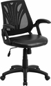 Mid-Back Black Mesh Swivel Task Chair with Leather Seat and Arms [GO-WY-82-LEA-GG]