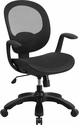 Mid-Back Transparent Black Mesh Swivel Task Chair with Seat Slider,Ratchet Back and Arms [CS-YAPI-BK-GG]