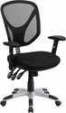 Mid-Back Black Mesh Multifunction Swivel Task Chair with Adjustable Arms [GO-WY-89-GG]