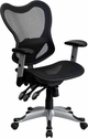 Mid-Back Transparent Black Mesh Multifunction Executive Swivel Chair with Adjustable Arms [GO-WY-55-GG]