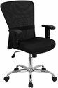 Mid-Back Black Mesh Contemporary Swivel Task Chair with Chrome Base and Adjustable Arms [GO-5307B-GG]