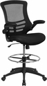 Mid-Back Black Mesh Drafting Chair with Adjustable Foot Ring and Flip-Up Arms [BL-X-5M-D-GG]