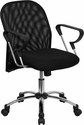 Mid-Back Black Mesh Swivel Task Chair with Chrome Base and Arms [BT-215-GG]