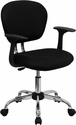 Mid-Back Black Mesh Swivel Task Chair with Chrome Base and Arms [H-2376-F-BK-ARMS-GG]