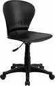 Mid-Back Black Plastic Swivel Task Chair [RUT-A103-BK-GG]