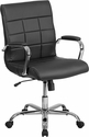 Mid-Back Black Vinyl Executive Swivel Chair with Chrome Base and Arms [GO-2240-BK-GG]