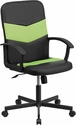 Mid-Back Black Vinyl and Green Mesh Racing Executive Swivel Chair with Arms [CP-B301C01-BK-GN-GG]