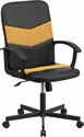 Mid-Back Black Vinyl and Orange Mesh Racing Executive Swivel Chair with Arms [CP-B301C01-BK-OR-GG]