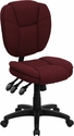 Mid-Back Burgundy Fabric Multifunction Ergonomic Swivel Task Chair [GO-930F-BY-GG]