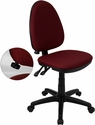 Mid-Back Burgundy Fabric Multifunction Swivel Task Chair with Adjustable Lumbar Support [WL-A654MG-BY-GG]