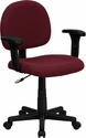 Low Back Burgundy Fabric Swivel Task Chair with Adjustable Arms [BT-660-1-BY-GG]
