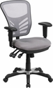 Mid-Back Gray Mesh Multifunction Executive Swivel Chair with Adjustable Arms [HL-0001-GY-GG]