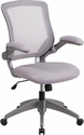 Mid-Back Gray Mesh Swivel Task Chair with Gray Frame and Flip-Up Arms [BL-ZP-8805-GY-GG]