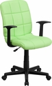 Mid-Back Green Quilted Vinyl Swivel Task Chair with Arms [GO-1691-1-GREEN-A-GG]